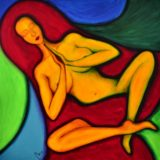 Bohyně meditace - Kundaliní - akryl na plátně -  100 x 100 cm - r. 2014