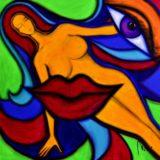 Bohyně komunikace - akryl na plátně - 100 x 100 cm - r. 2014
